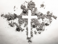 Ash wednesday cross, crucifix made of ash, dust as christian religion, Jesus, god, faith, holy, holiday,  concept background